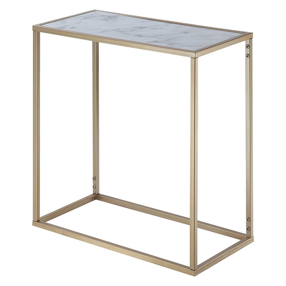 Gold Coast Faux Marble Chairside Table Faux Marble/Gold - Johar