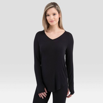 Wander by Hottotties Women's Lightweight Ribbed Thermal V-Neck Top - Black