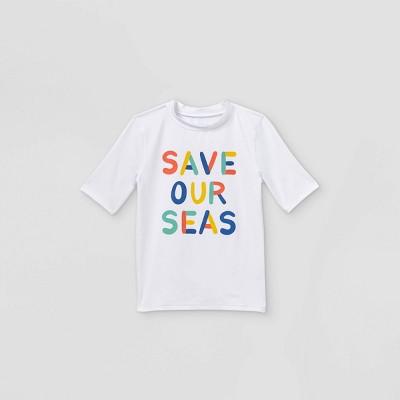 Boys' Save Our Seas Short Sleeve Rash Guard Swim Shirt - Cat & Jack™ White