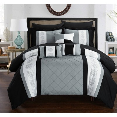 King 10pc Dalton Bed In A Bag Comforter Set Gray - Chic Home Design