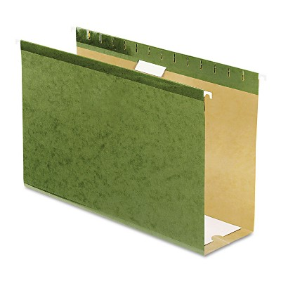 "Pendaflex Reinforced 4"" Extra Capacity Hanging Folders Legal Standard Green 25/Box 4153X4"
