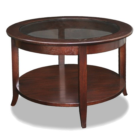 Solid Wood Round Glass Top Coffee Table - Chocolate Oak Finish - Leick Home - image 1 of 4