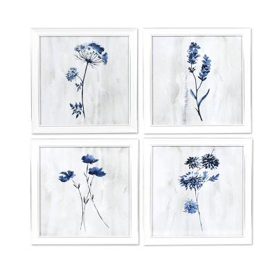 Set of 4 Ava Barrett Flowers Blue - New View