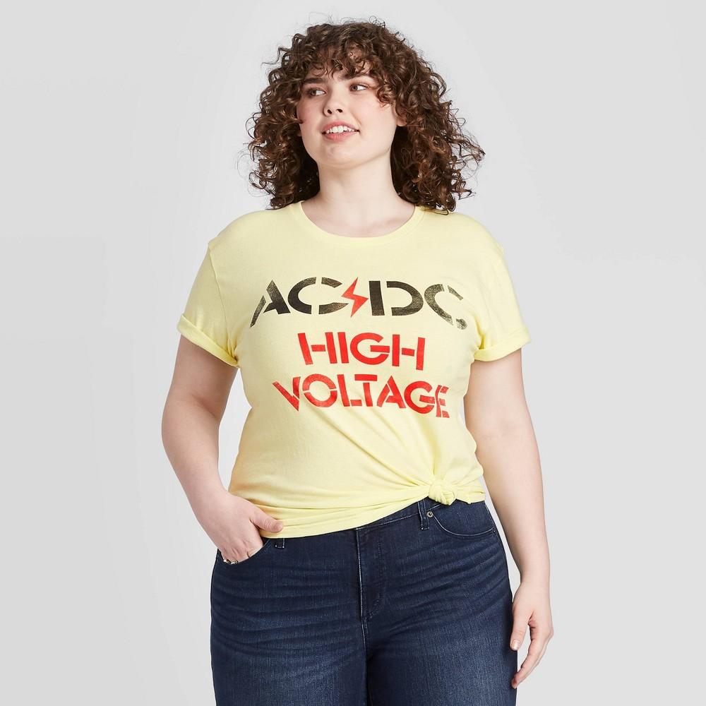 Image of Women's AC/DC High Voltage Plus Size Short Sleeve Boyfriend Graphic T-Shirt (Juniors') - Yellow 1X, Women's, Size: 1XL