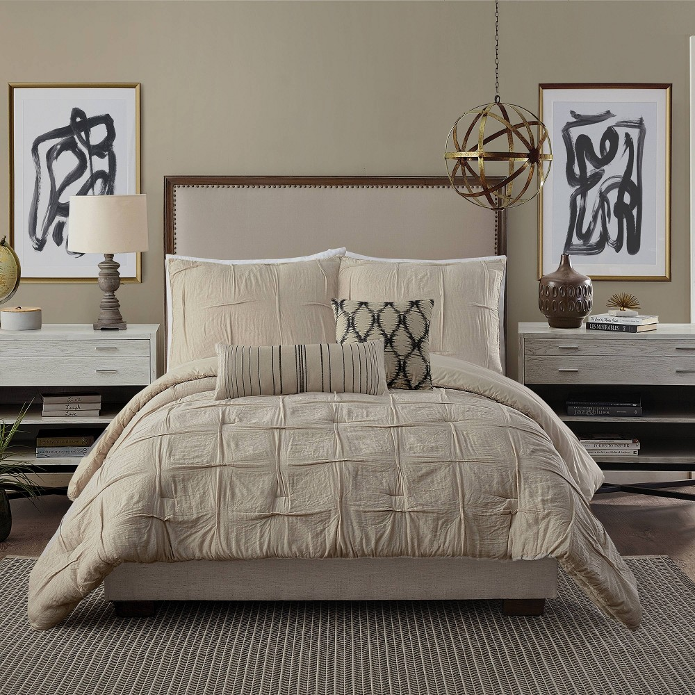 Image of Full/Queen 3pc Natural Instincts Double Cloth Comforter Set Linen - Ayesha Curry, Beige