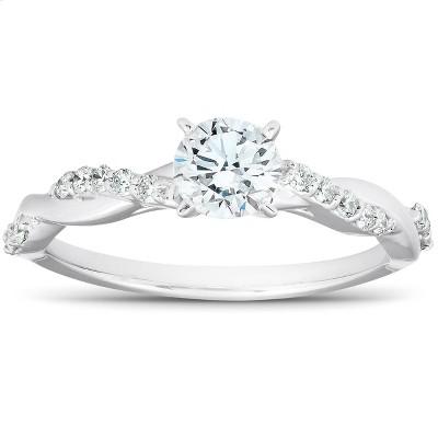 Pompeii3 1/2Ct Diamond Infinity Engagement Ring Womens 14k White Gold Interwoven Band
