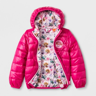 Toddler Girls' PAW Patrol Ultralight Hooded Quilted Jacket - Fuchsia 2T