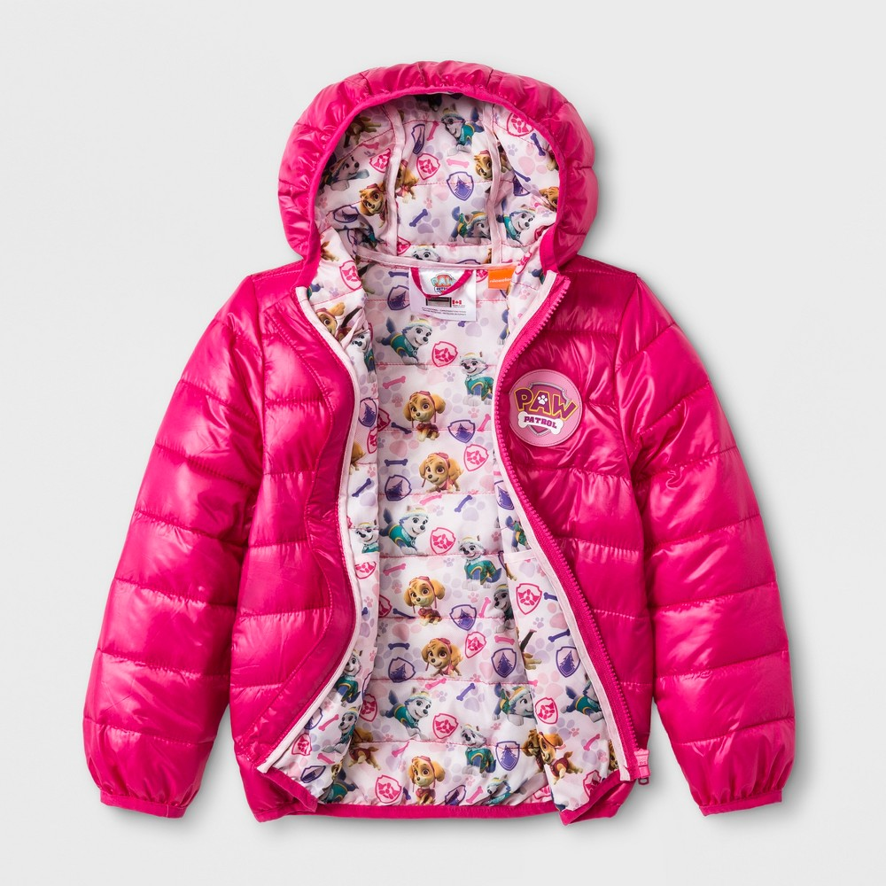 Toddler Girls' Paw Patrol Hooded Quilted Jacket - Fuchsia 6, Pink