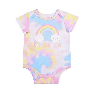 """Young Hearts Baby Girl's """"Isabella"""" Name Printed Short Sleeve Rainbow Tie Dye Creeper"""