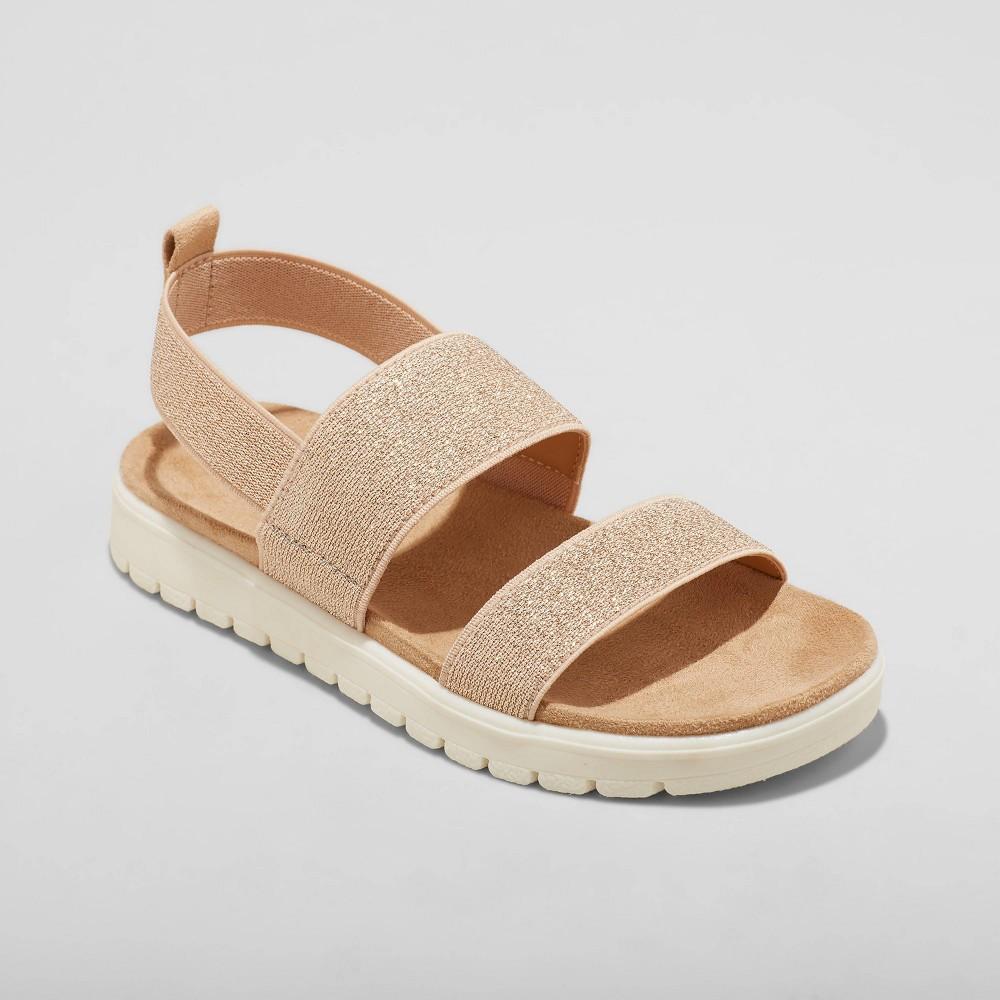 Girls 39 Sloane Pull On Elastic Strap Footbed Sandals Cat 38 Jack 8482 Rose Gold 1