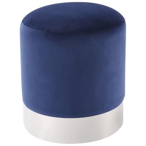 Jason Blue Velvet Round Ottoman - Chrome Metal Base - Upholstered in Blue - Posh Living - image 1 of 3