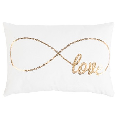 Infinite Love Lumbar Throw Pillow Cream/Gold - Safavieh