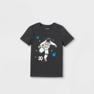 Boys' Short Sleeve Astronaut Soccer Graphic T-Shirt - Cat & Jack™ Black