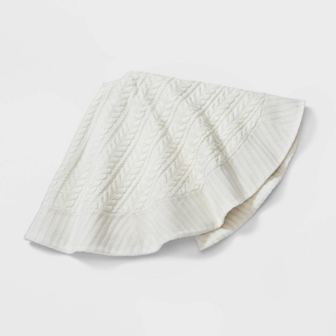 "48"" Cable Knit Christmas Tree Skirt Ivory - Wondershop™ - image 1 of 2"
