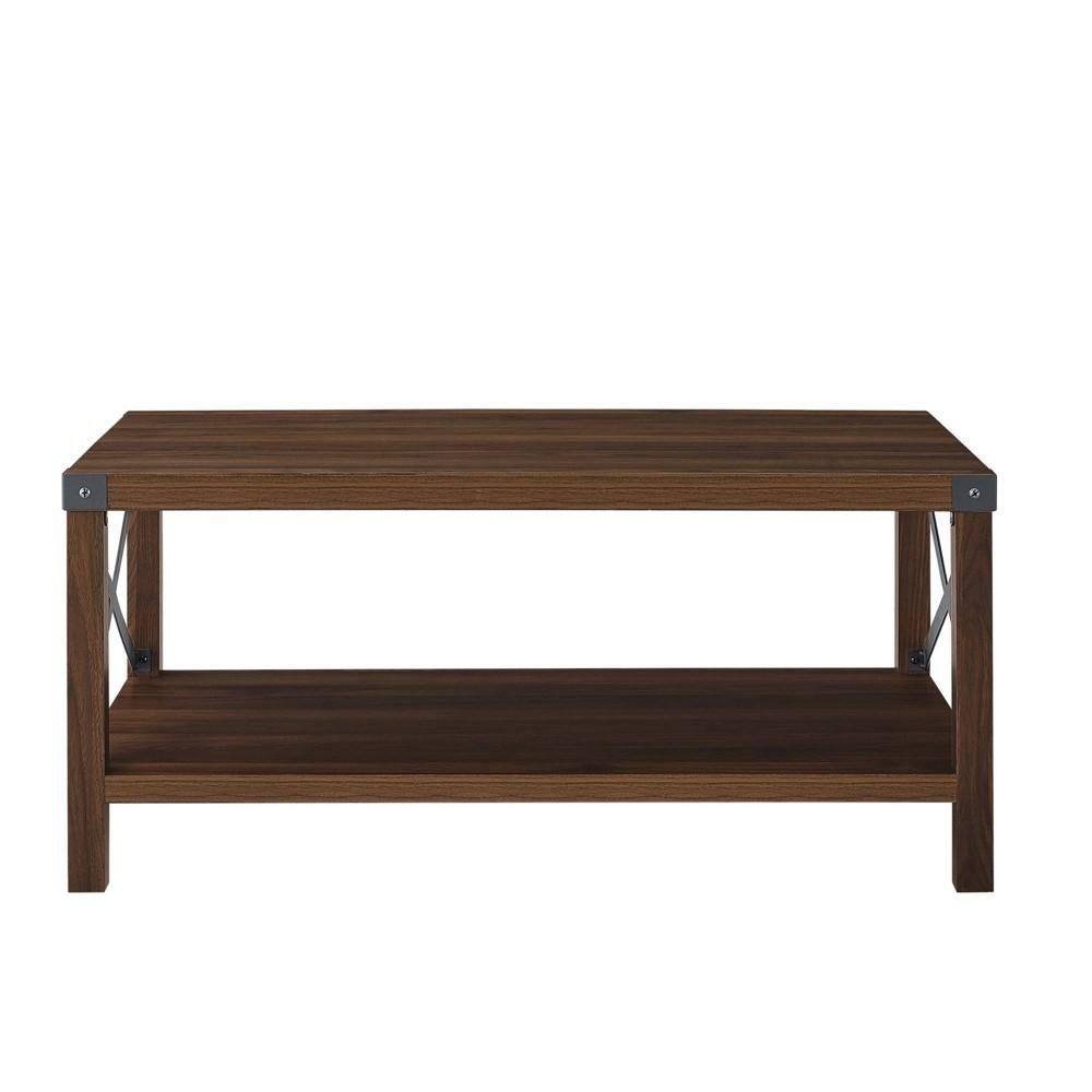Rustic Wood Coffee Table Dark Walnut Saracina Home