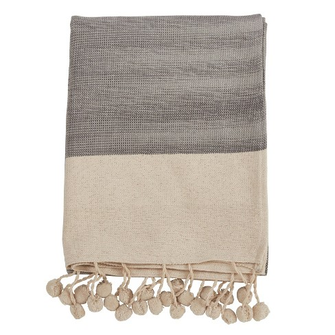 Pom Pom Throw Blanket Gray - Saro Lifestyle - image 1 of 3