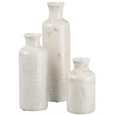 "Sullivans Set of 3 Small Ceramic Bottle Vases 5""H, 7.5""H & 10""H"