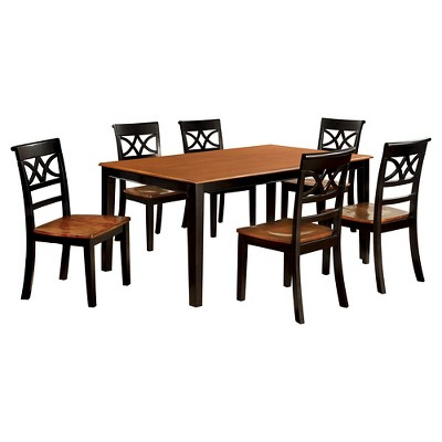 Exceptionnel IoHomes 7pc Country Style Dining Table Set Wood/Black And Oak