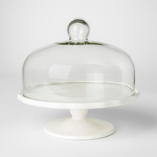 "11"" Stoneware Dessert Stand With Lid White - Threshold™"