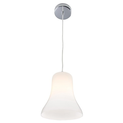 Spinners 1-Light Mini Pendant with White Glass Shade - Chrome - Rogue Décor - image 1 of 2