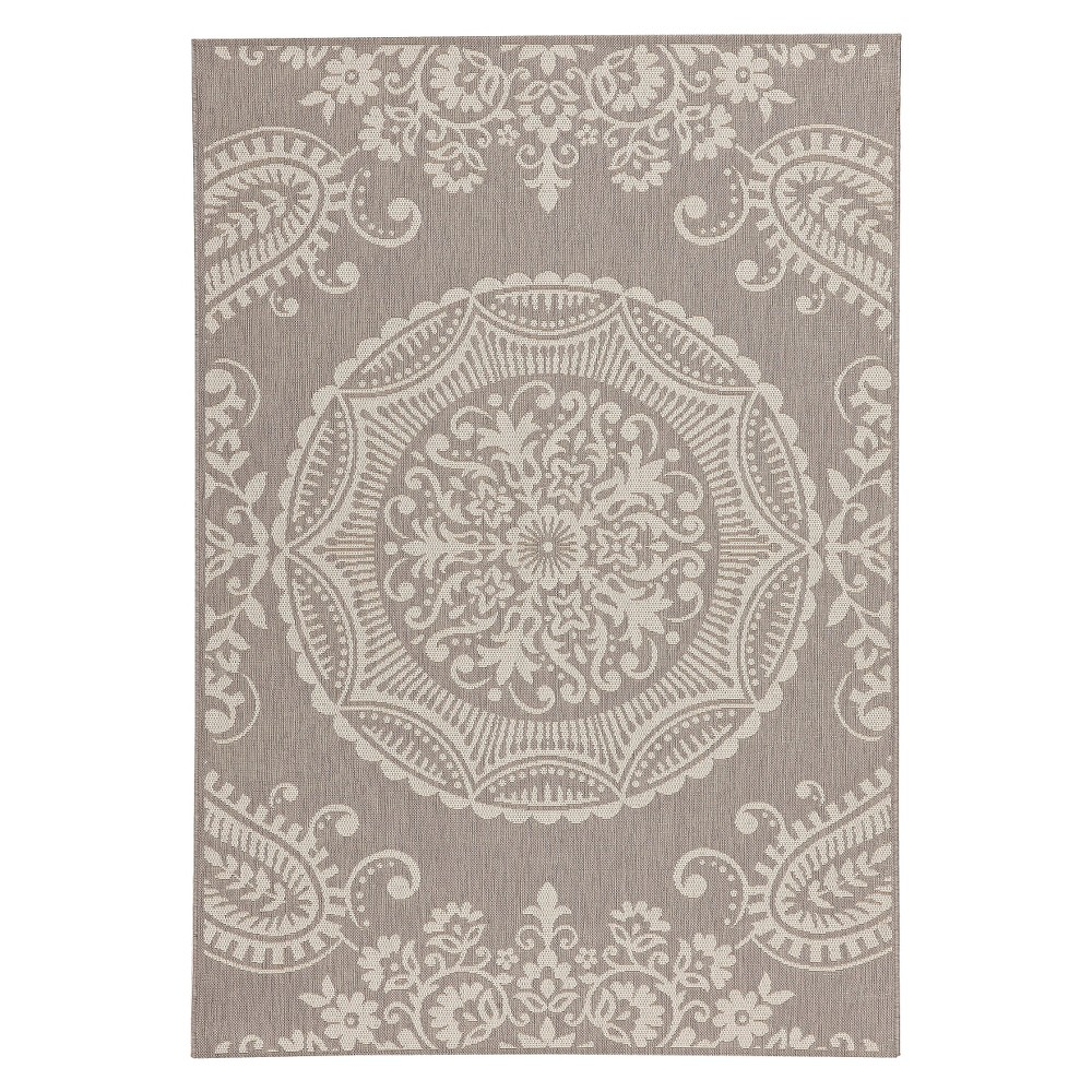 "Image of ""Georgian Rectangle 5'3""""x7'6"""" Patio Rug - Gray/Creme - Balta Rugs, Gray Off-White"""