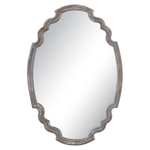 Oval Ludovica Aged Wood Decorative Wall Mirror Uttermost