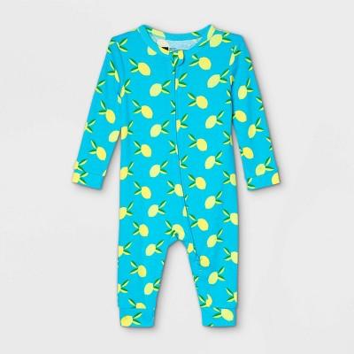Baby Lemon Print 100% Cotton Matching Family Pajamas Union Suit - Blue