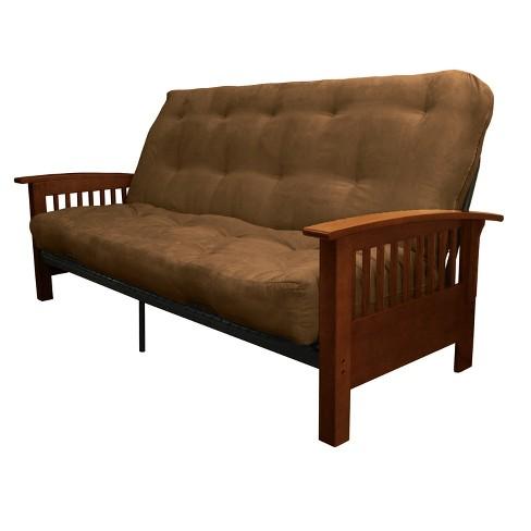"8"" Craftsman Inner Spring Futon Sofa Sleeper Walnut Wood Finish Espresso Brown - Epic Furnishings - image 1 of 4"