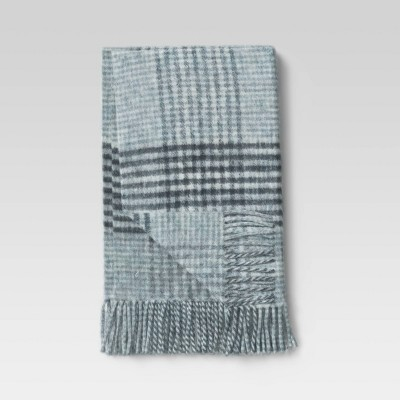 """60""""x50"""" Houndstooth Faux Mohair Throw Blanket Navy/Cream - Threshold™"""