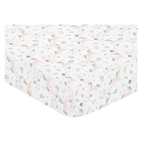 Sweet Jojo Designs Fitted Crib Sheet - Unicorn - White - image 1 of 1