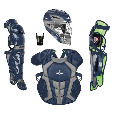 All-Star Sports S7 Axis Ages 9 to 12 Protective Baseball Catchers Gear Set with Mask Helmet, Chest Protector, and Leg Guards, Navy