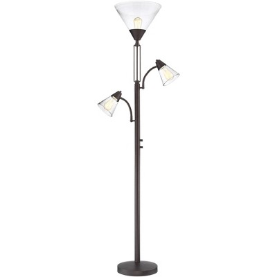Franklin Iron Works Industrial Torchiere Lamp Tree Tiger Bronze Seedy Glass Dimmable LED Edison Bulbs for Living Room Reading