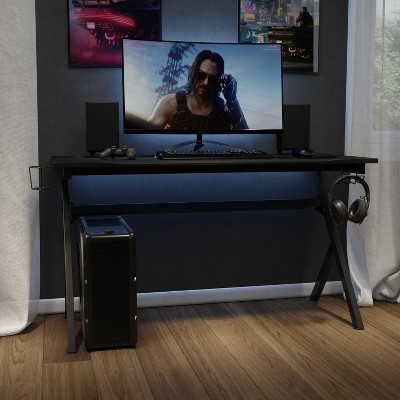"Emma and Oliver 55"" Black Computer Gaming Desk - Headphone Holder - Cable Management - Mouse Pad"