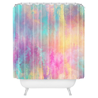 Watercolor Shower Curtain Pink - Deny Designs