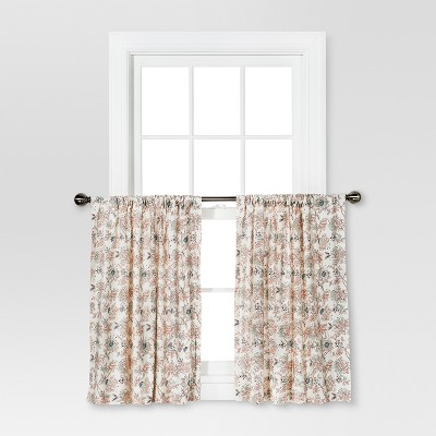 "Set of 2 36""x42"" Floral Curtain Tiers White/Beige - Threshold™"