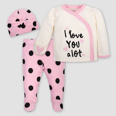 Gerber Baby Girls' 3pc Polka Dots Top & Bottom Set with Cap - Pink/Ivory 3-6M