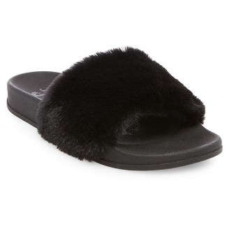 Womens Mad Love® Phoebe Faux Fur Slide Sandals - Black 7