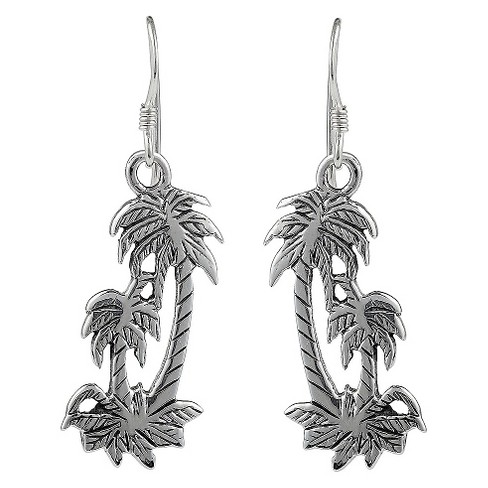Women's Journee Collection Sterling Silver Textured Palm Tree Dangle Earrings - Silver - image 1 of 2