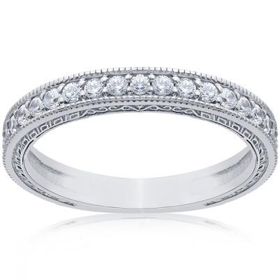 Pompeii3 1/2ct Vintage Diamond Wedding Ring 14K White Gold