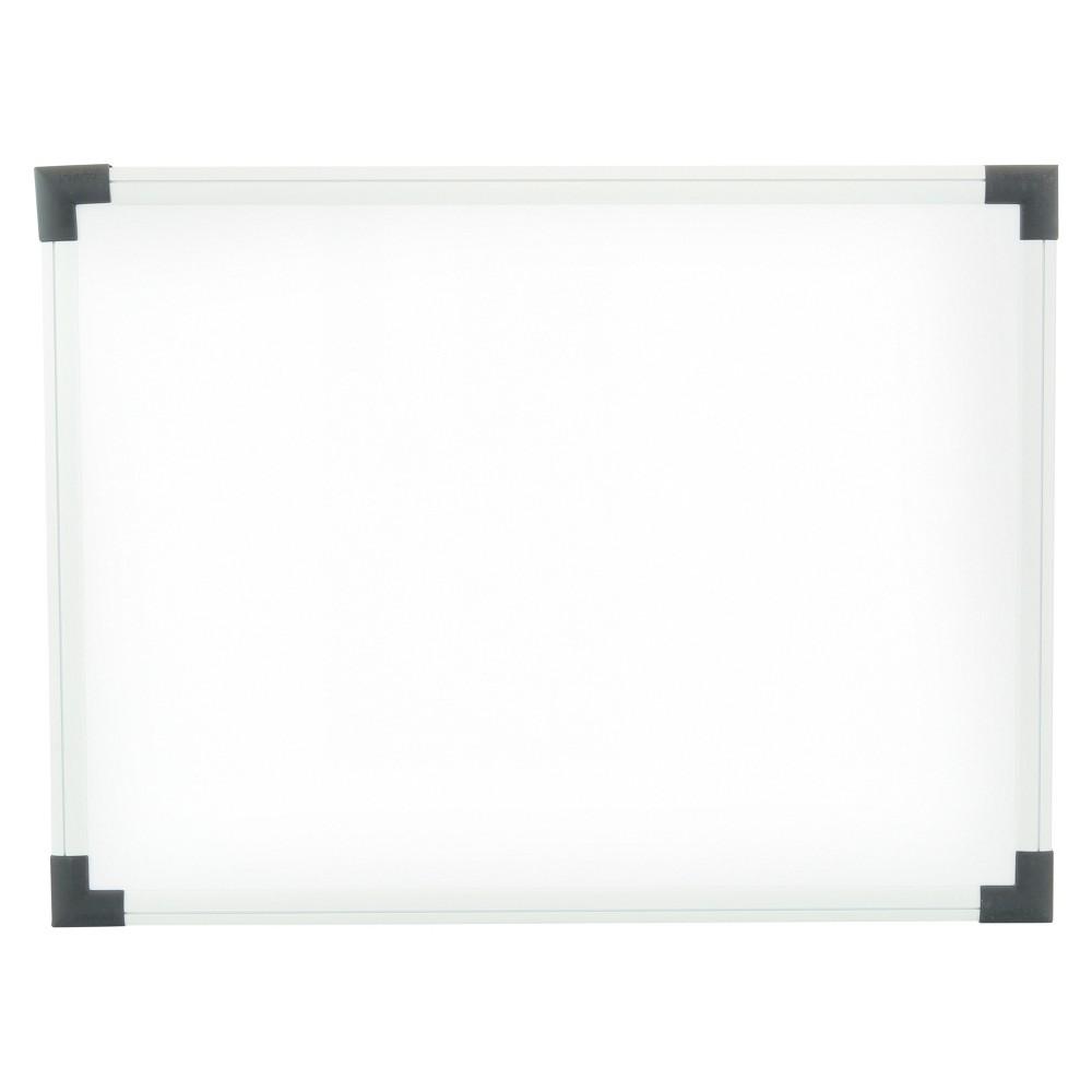 Universal Dry Erase Board, Melamine, 24 x 18, White, Black/Gray, Aluminum/Plastic Frame