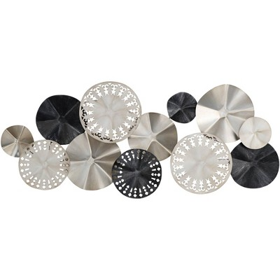 """Newhill Designs Abstract Modern Discs 41 1/4"""" Wide Metal Wall Art"""