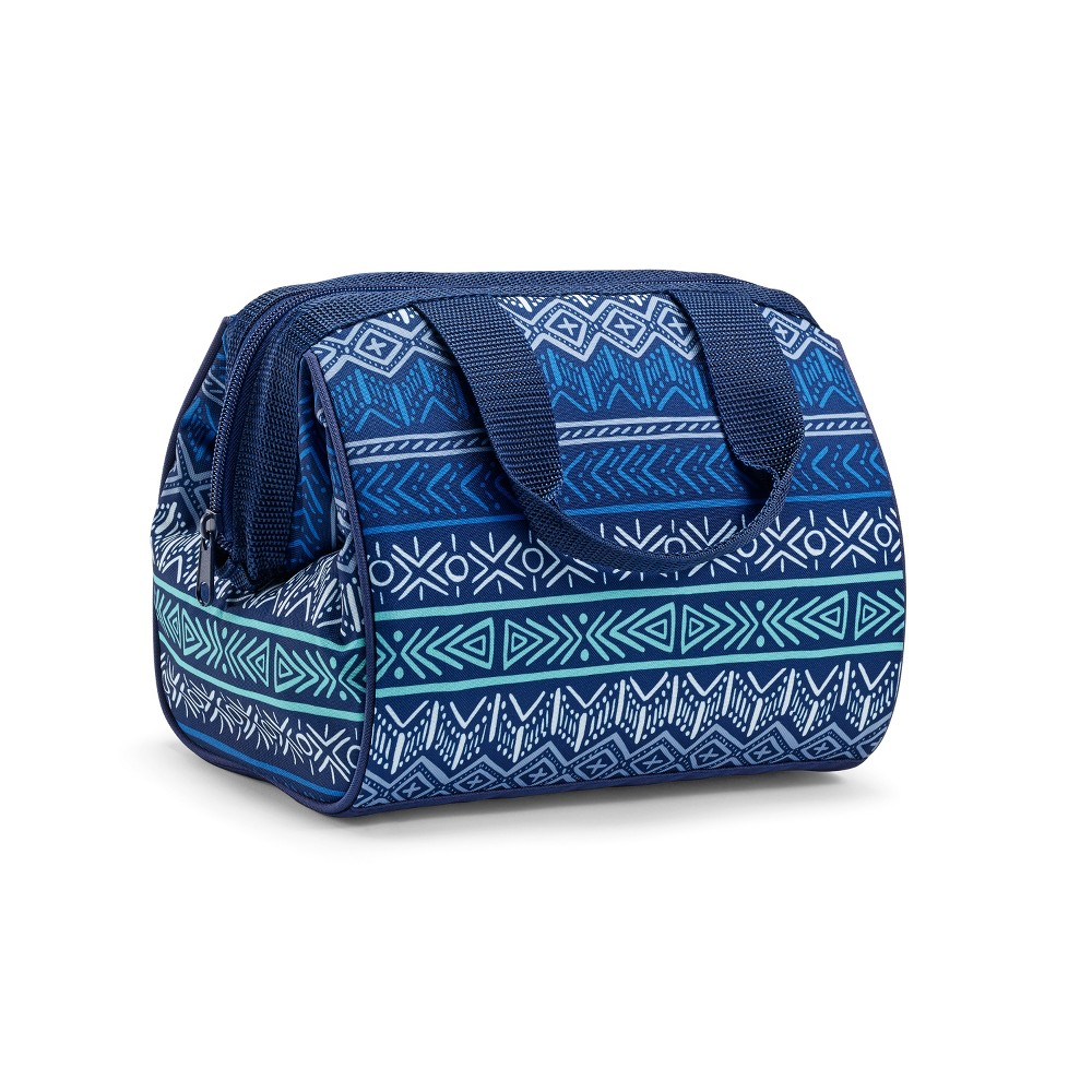 Image of Fit & Fresh Charlotte Lunch Tote - Blue/Green Tribal Print