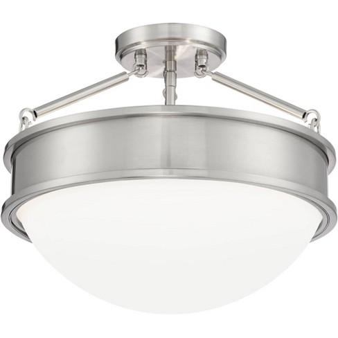 Possini Euro Design Modern Ceiling Light Semi Flush Mount Fixture Brushed Nickel 16 Wide Opal White Glass Bowl Bedroom Kitchen Target
