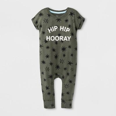 Baby Boys' Short Sleeve  Hip Hip Hooray  Romper with Stars - Cat & Jack™ Green 12M