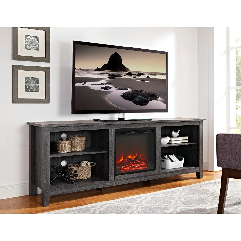 70 Wood Media TV Stand Console with Fireplace - Charcoal (Grey) - Saracina Home