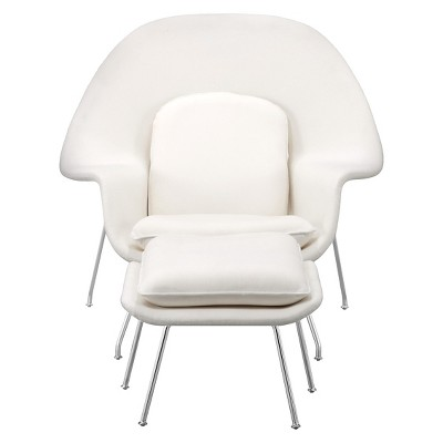 Mid-Century Modern Low Profile Accent Chair and Ottoman - White - ZM Home