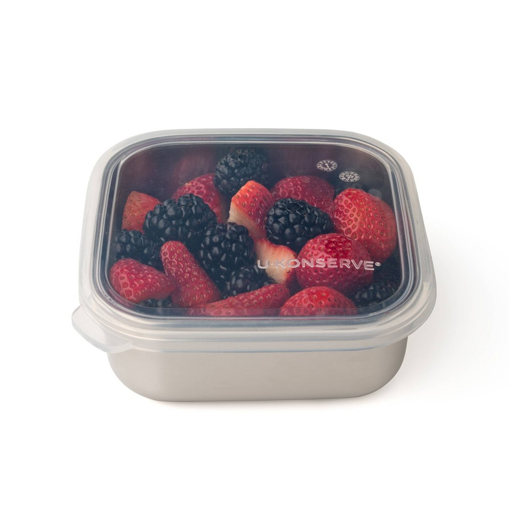 U Konserve To Go Stainless Steel Food Storage Container Square 15oz Clear 160 Silicone Lid