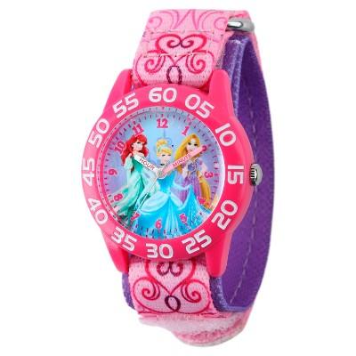 Girls' Disney Princess Ariel, Cinderella and Rapunzel Pink Plastic Time Teacher Watch- Pink