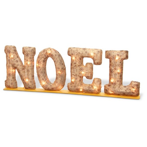 "10.6"" Apricot ""NOEL"" Burlay 2D with Metal Base Marquee sign lights - image 1 of 1"
