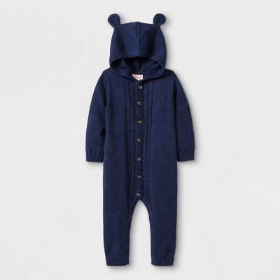 Baby Boys' Hooded Critter Sweater Romper - Cat & Jack™ Navy Newborn